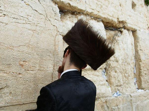 תמונה של יהודי מתפלל  בכותל המערבי